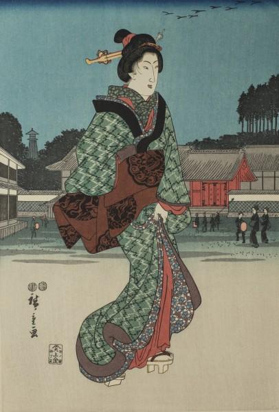Ukiyo-e - Blick auf den Mond in Tokyo - Triptychon