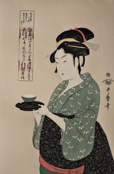 Ukiyo-e - Okita arbeitet im Teehaus Naniwaya